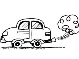 Zeichnung eines Autos in schwarz-weiß mit Abgaswolke