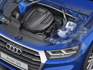 Explosionszeichnung eines Audi Q5 mit 2.0 TFSI Motor, November 2016.