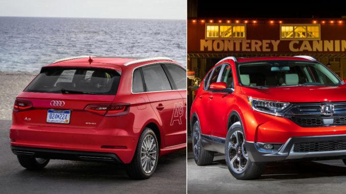 Bild eines Audi A3 von hinten und eines Honda CR-V von vorne, beide rot.