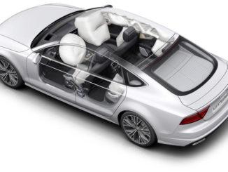 Explosionszeichnung eines weißen Audi A7 mit allen Airbags.
