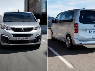 Die Kleintransporter Baureihe von PSA: Peugeot Expert von vorne und Citroen Spacetourer von hinten, jeweils in silber.