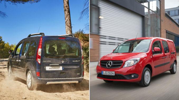 Abbildungen eines blauen Renault Kangoo und eines roten Mercedes Citan.