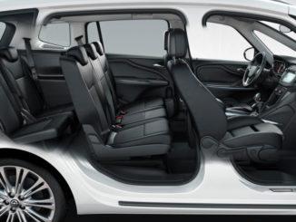 Schnittfoto eines Opel Zafira C mit siebensitzigem Innenraum.