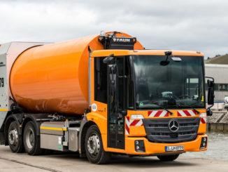 Der Mercedes-Benz Econic NGT im Einsatz bei AWS Abfallwirtschaft Stuttgart. Technische Daten: Mercedes-Benz Econic NGT, Euro VI Erdgasmotor M 936 G mit 7,7 l Hubraum, 222 kW (302 PS), zulässiges Gesamtgewicht von 26 t, Radstand 3900 mm