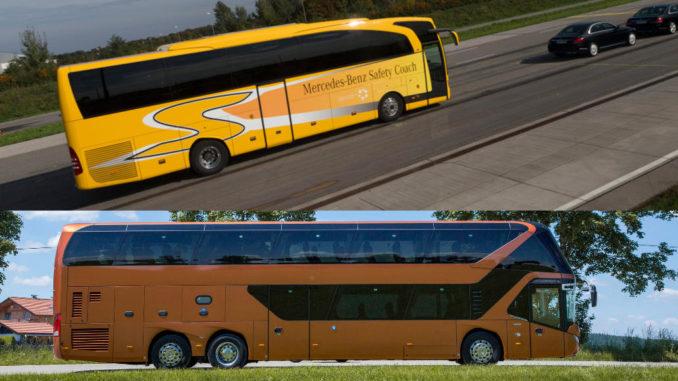 Zweigeteiltes Bild: Oben ein gelber Mercedes-Benz Travego demonstriet den Notbremsassistenten, unten ein brauner Neoplan Skyliner im Profil.