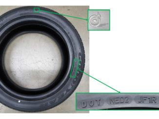 Abbildung des zurückgerufenen Reifens Goodyear Efficientgrip mit Hervorhebung der Erkennungsmerkmale.