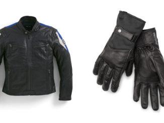 BMW-Motorradzubehör: Jacke Club Leder Herren, Gr. M, Teilenummer 76129899222, sowie Handschuh DownTown, Teilenummer 76218560843 bis 76218560849