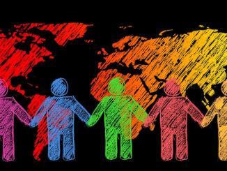 gemeinsam erde menschen silhouetten global welt