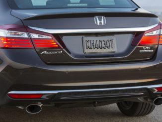 Nahaufnahme des Hecks eines Honda Accord V6, Modelljahr 2017