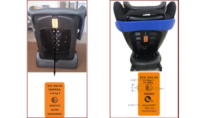 Abbildung zweier Kindersitze des Herstellers Jiangsu Best Baby Carseat samt ECE-Label zur Idetifizierung.