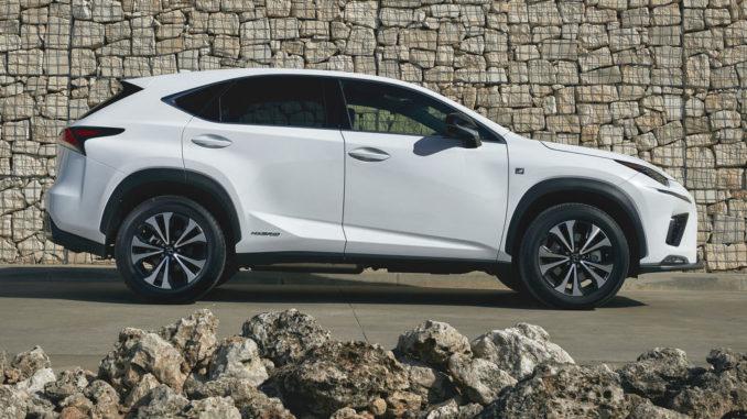 Ein weißer Lexus NX steht vor einer Steinmauer.