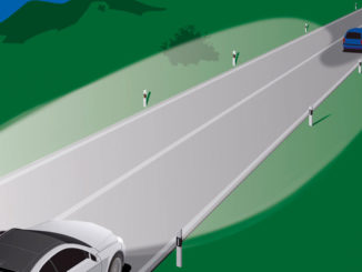 Grafik zu Partielles Fernlicht IHC+: Gegenverkehr und vorausfahrender Verkehr werden ausgeblendet