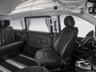 Mercedes-Benz Marco Polo HORIZON – Interieur, V-Klasse Materialien, Leder Lugano schwarz, umklappbare Dreiersitzbank mit Bettverlängerung, drehbare Vordersitze