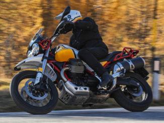 Ein Biker fährt mit einer Moto Guzzi V85 TT (2019) vor einem Herbstwald durch eine Kurve.