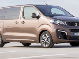 Ein brauner Peugeot Traveller steht auf einem Parkplatz.