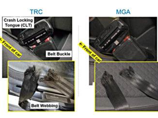 Bilder zweier gerissener Sicherheitsgurte bei Crashtests zweier VW Tiguan.Die Tests wurden am 8. Dezember 2017 bei MGA Research Corp. in Wisconsin (MGA) und am 13. Dezember 2017 im Transportation Research Center von Ohio (TRC) durchgeführt.