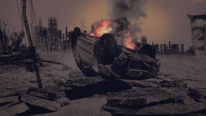 apokalypse endzeit krieg zerstörung brennen feuer auto